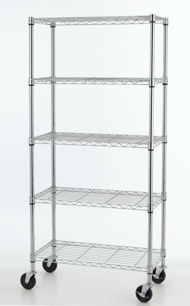 5 shelf chrome steel wire shelving 30 by 14 by 60 inch. Black Bedroom Furniture Sets. Home Design Ideas
