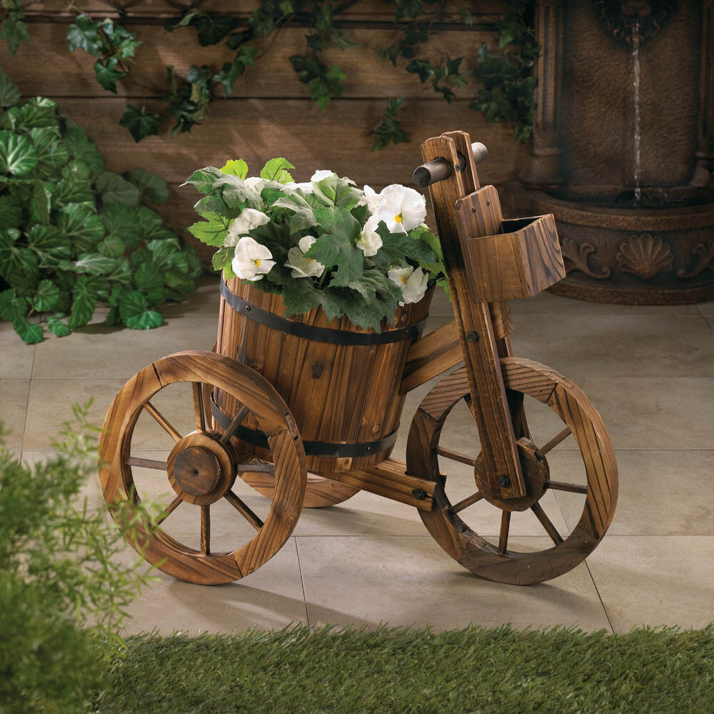Rustic wood whiskey wine barrel bicycle tricycle planter plant stand flower pot ebay - Bicycle planter stand ...