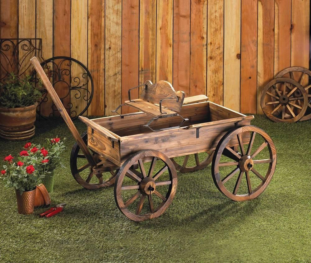 Large Wood Wagon Rolling Country Flower Cart Plant Pot