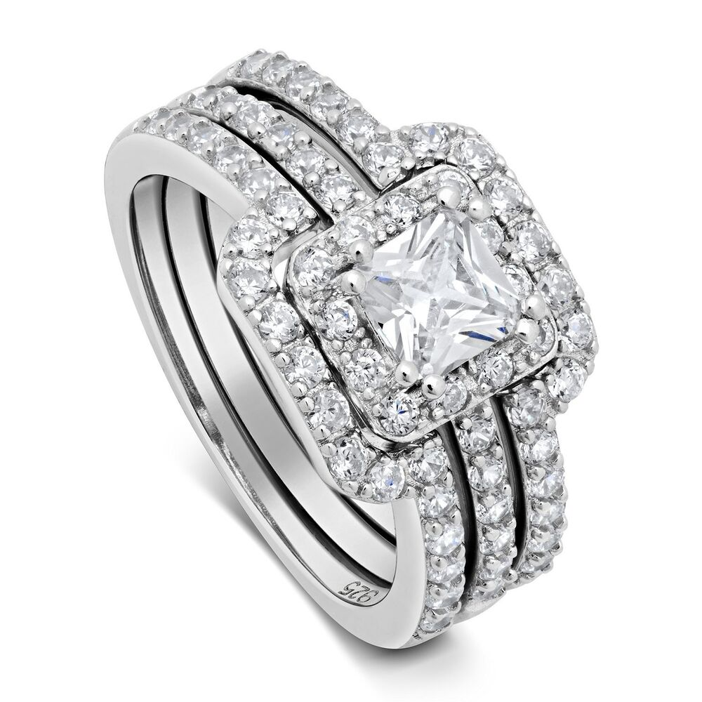 Womens 325 ctw princess cut 925 sterling silver cz for Princess cut engagement rings with wedding band