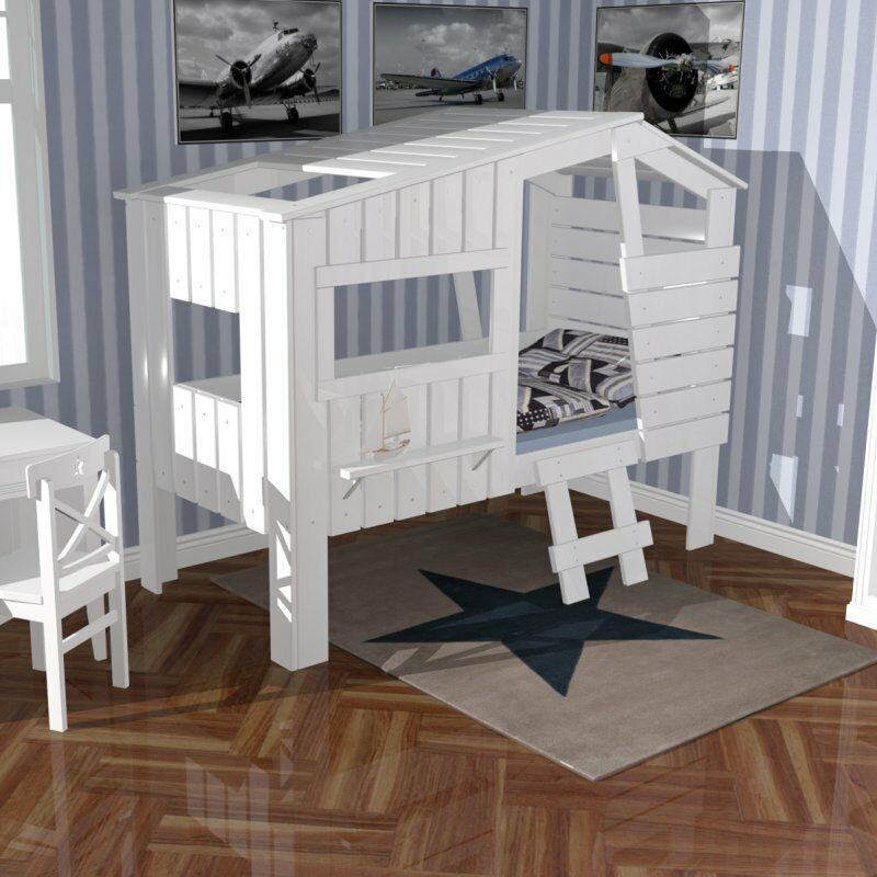 kinderbett strandhaus h ttenbett spielbett haus bett massivholz wei 90x200cm ebay. Black Bedroom Furniture Sets. Home Design Ideas