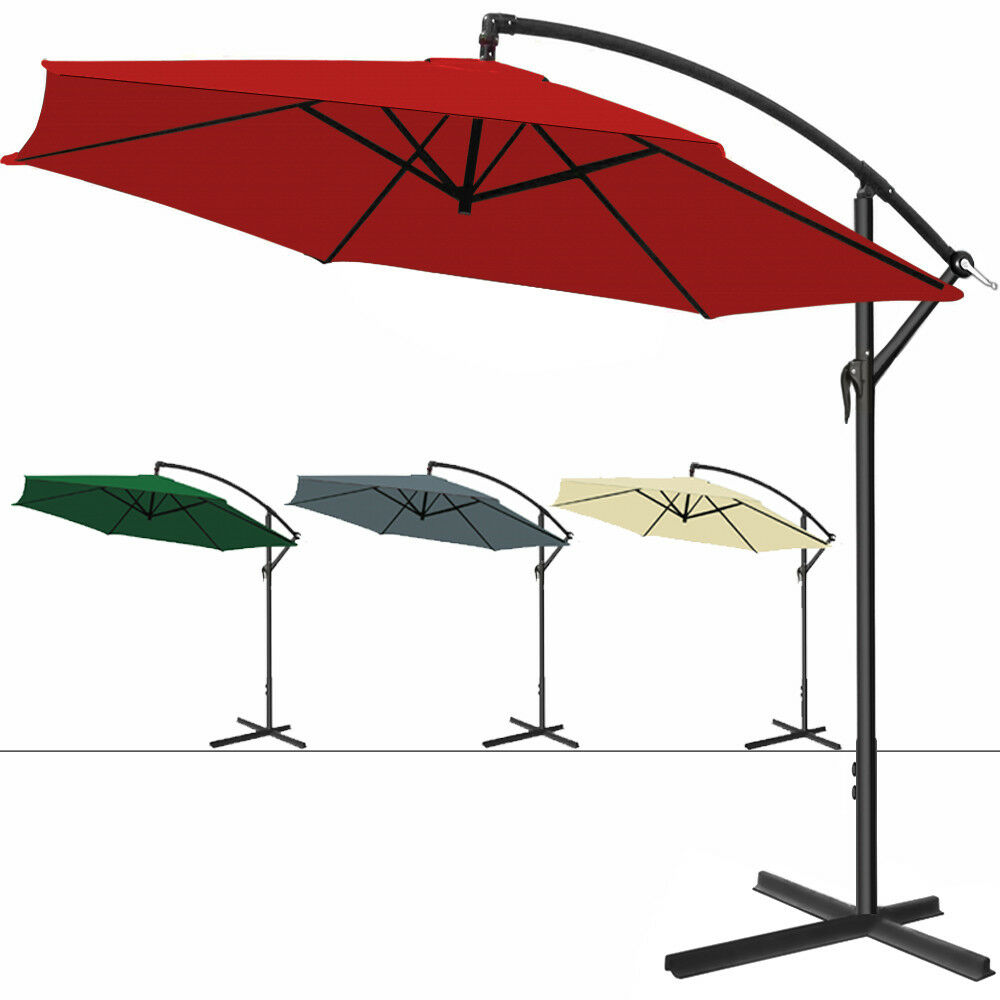 parasol aluminium pare soleil jardin terrasse balcon manivelle 300cm ebay. Black Bedroom Furniture Sets. Home Design Ideas