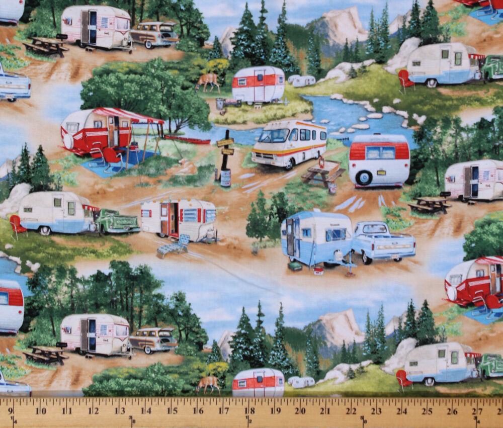 Cotton Vintage Trailers Camping Campers Rv S Fabric Print