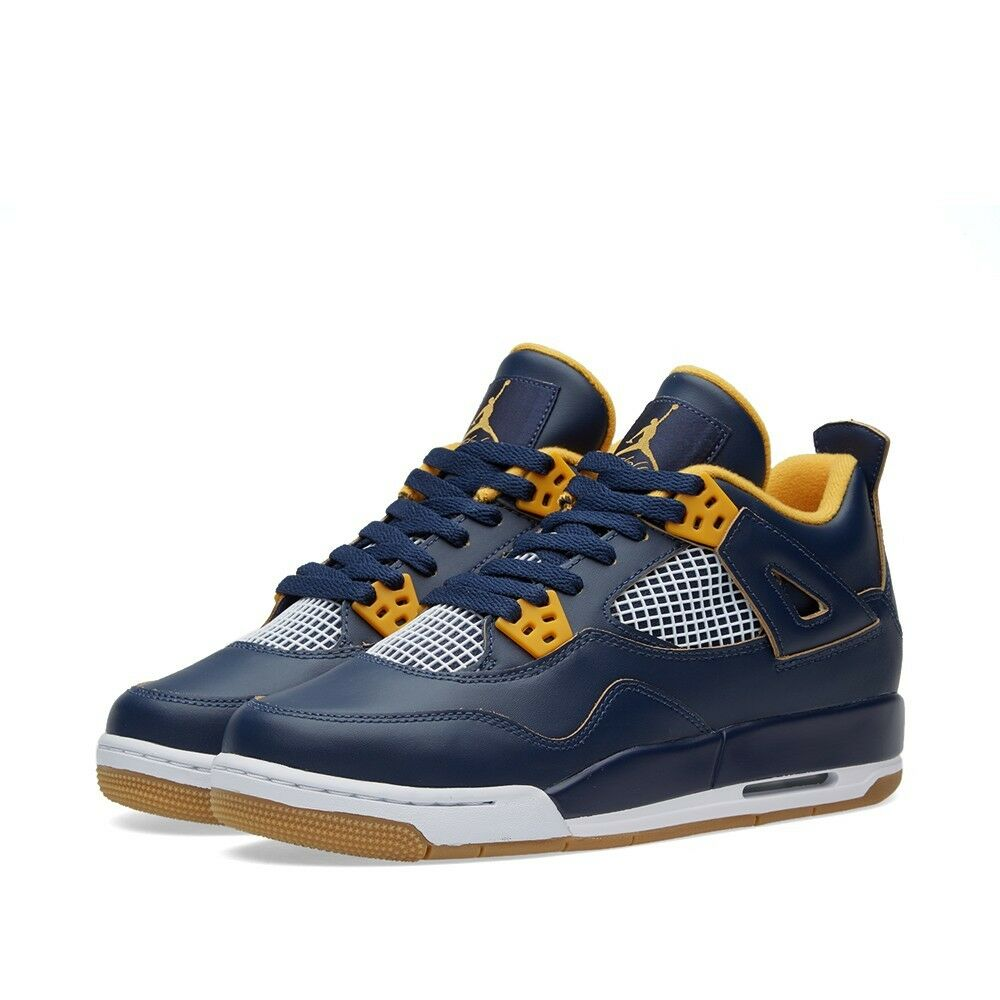 best sneakers b5b33 820de Details about Air Jordan 4 IV Retro BG (GS)  Dunk From Above  Navy Gold  White 408452-425