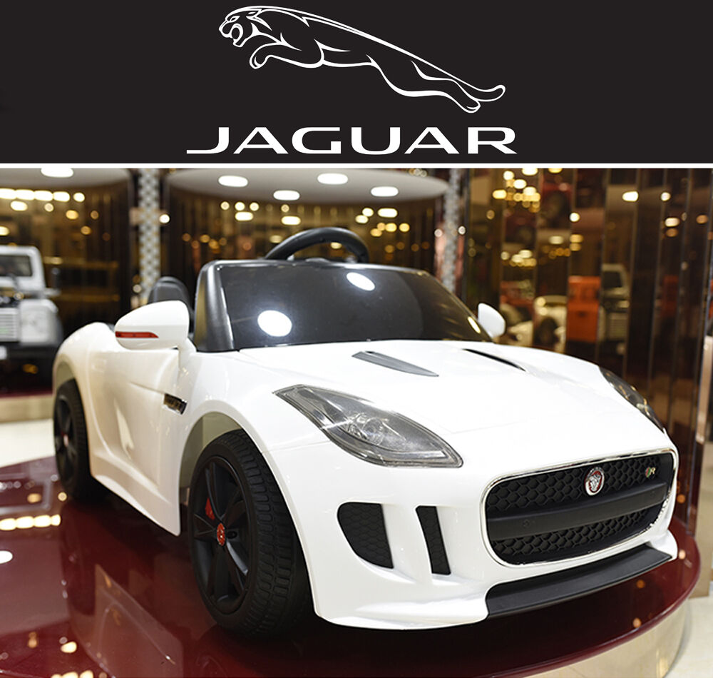 ride on car kids jaguar f type 12v battery power wheels rc remote white ebay