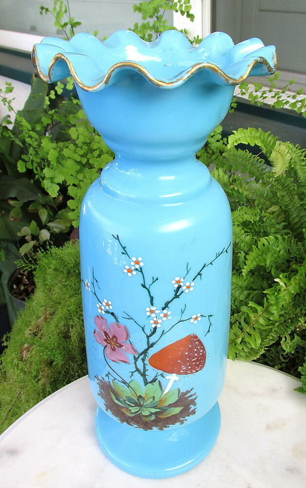 Bristol Blue Glass Victorian Vases Hand Painted
