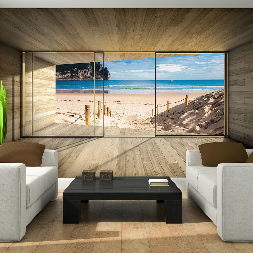 photo wallpaper giant nature beach window effect wall mural 3308ve ebay. Black Bedroom Furniture Sets. Home Design Ideas