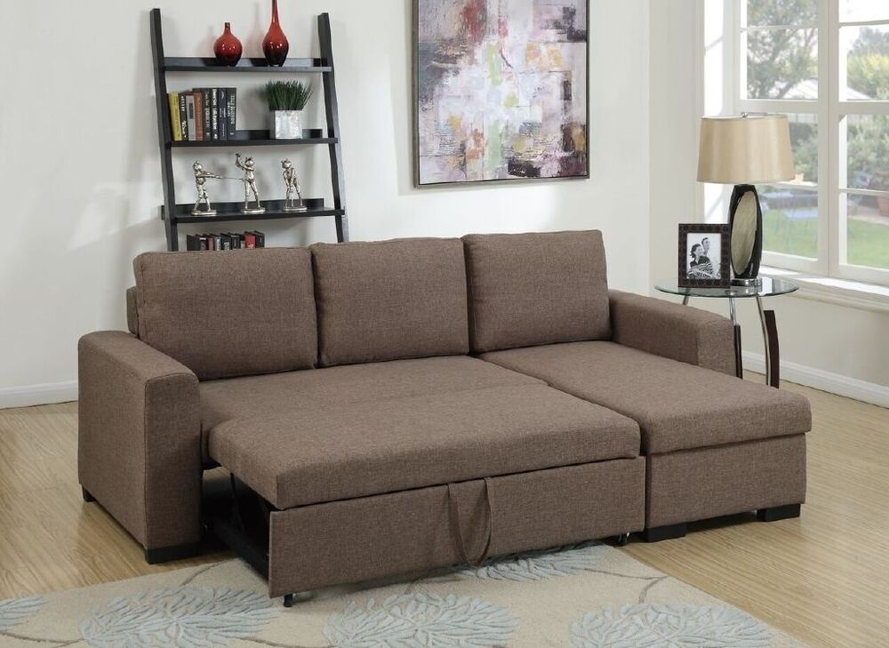 light coffee polyfiber sectional set pull out bed sofa chaise family couch home ebay. Black Bedroom Furniture Sets. Home Design Ideas