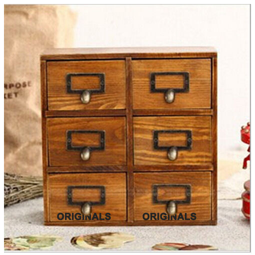 Rustic vintage wood drawers storage jewelry box