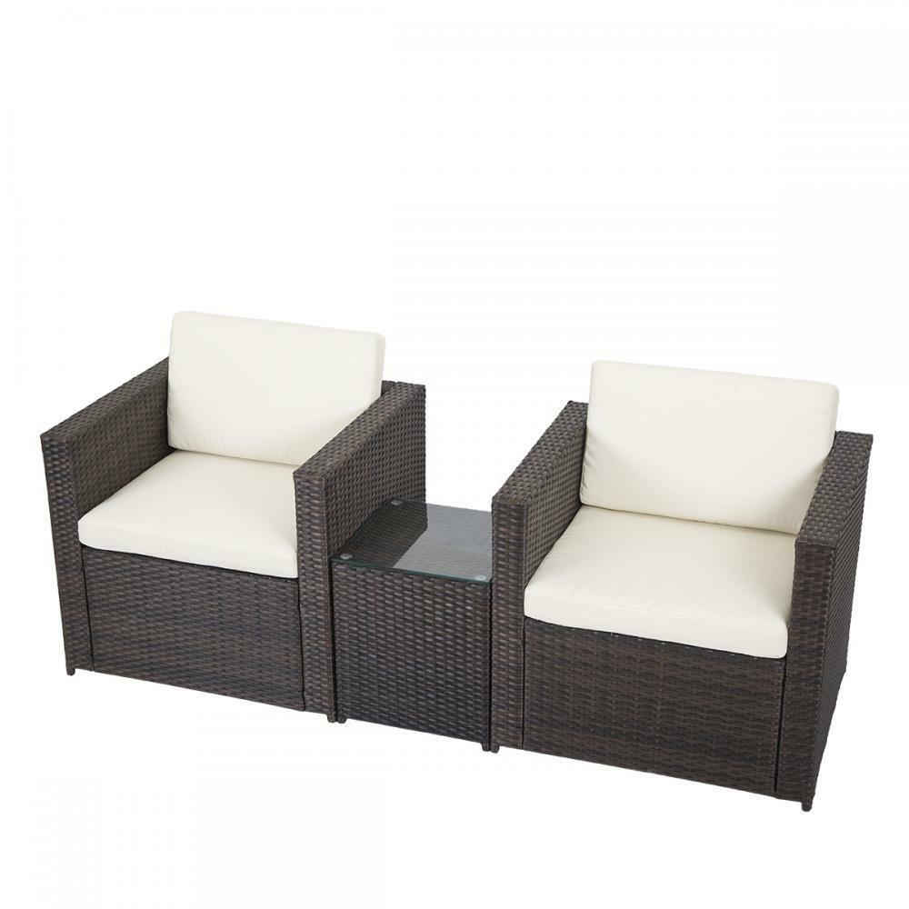 3 pcs outdoor patio sofa set sectional furniture pe wicker for Balcony furniture set