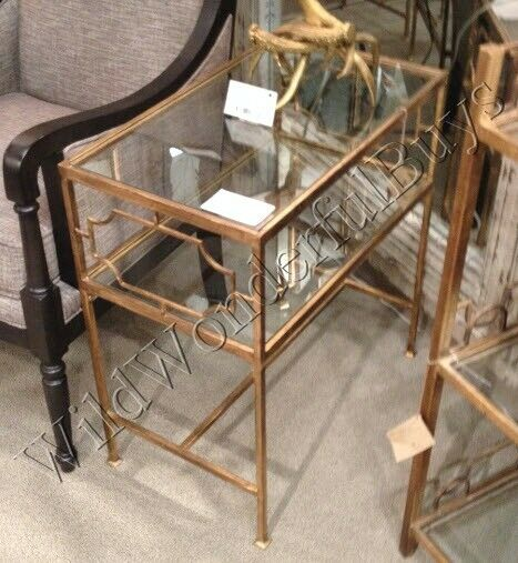 Antique Gold And Glass Coffee Table: Geometric Side Table Antique Gold Glass Top Iron Accent