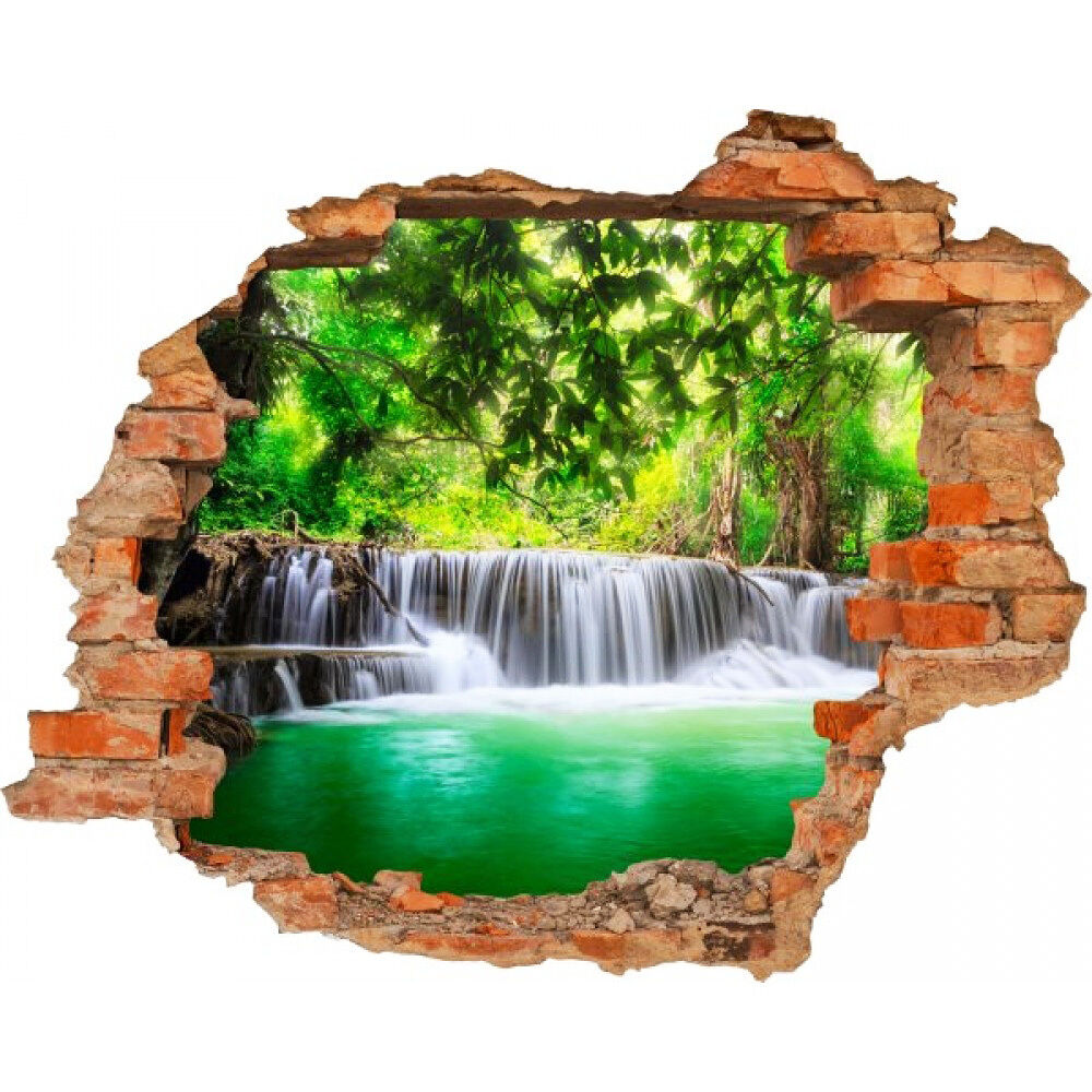 3d wandsticker wasserfall breakthrough wandtattoo riesige fototapete 100cmx125cm ebay. Black Bedroom Furniture Sets. Home Design Ideas