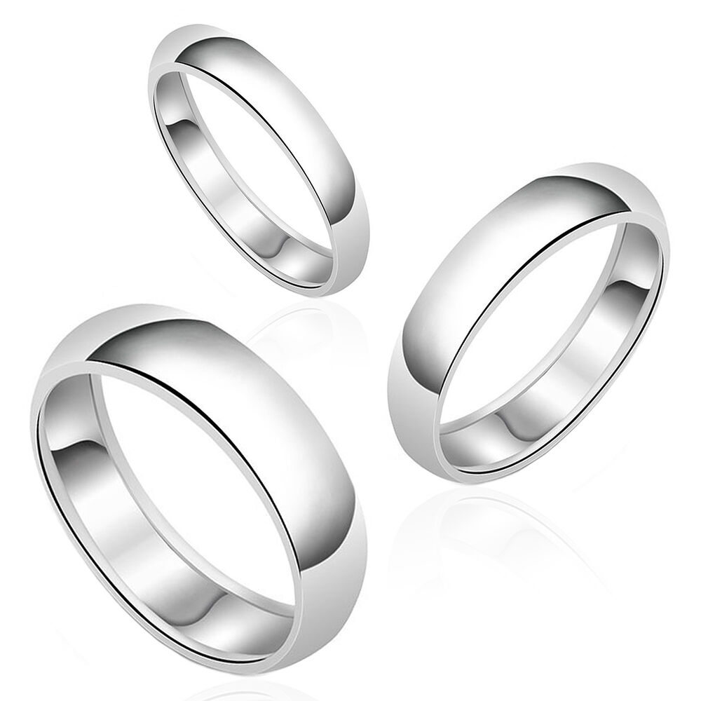AUTHENTIC Round Plain Wedding Band SOLID .925 Sterling