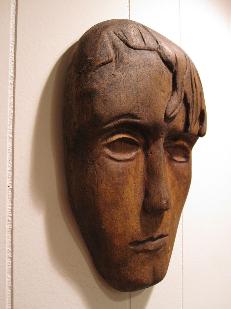 Antique american folk art wood carved handsome man moppy