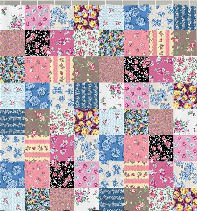 Floral Patchwork Square Tile Fabric SHOWER CURTAIN Vintage ...
