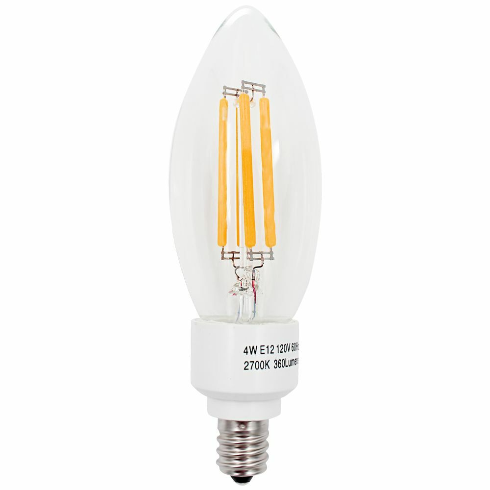 4w E12 Led Filament Candelabra Bulb E12 Base Chandelier