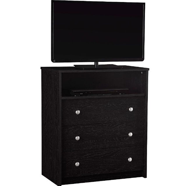 black 3 drawer dresser chest storage organizer bedroom furniture tv gaming media ebay. Black Bedroom Furniture Sets. Home Design Ideas