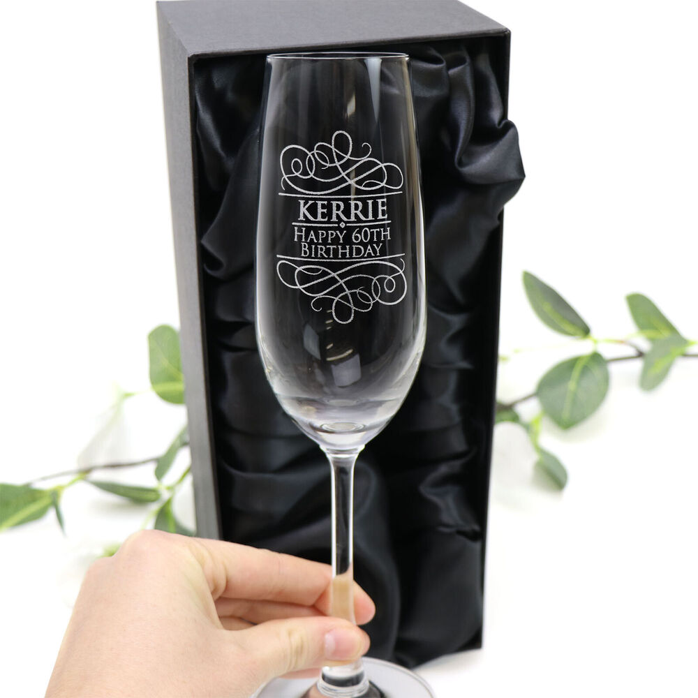 Personalised Engraved 215ml Champagne Glass Birthday Gift