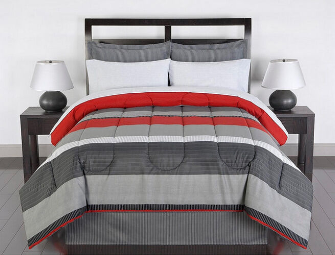 Red Gray White Striped 8 Piece Full Size Comforter Bedding
