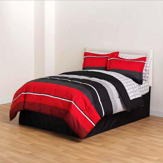 Red Black Gray Striped 8 piece forter Bedding Set Twin