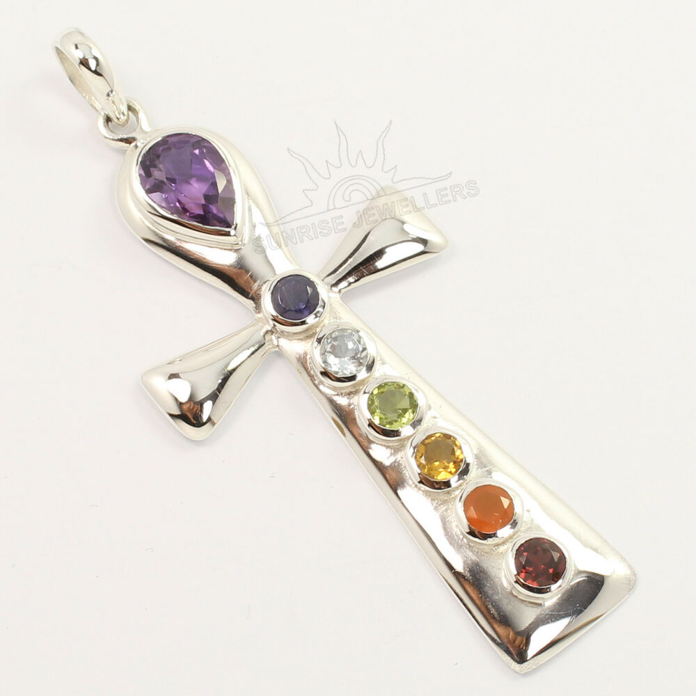 925 Sterling Silver Jewelry Natural MULTI STONES Healing ... - photo #14