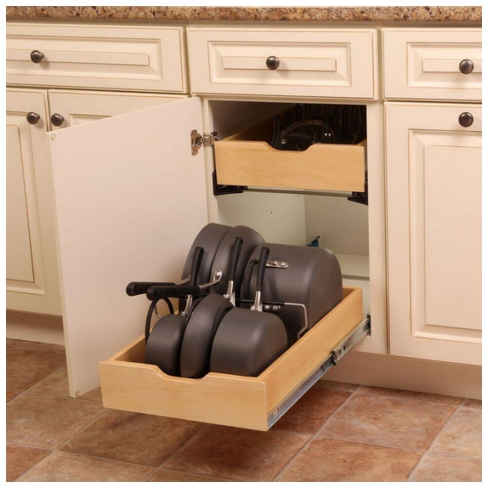 Pot pan cookware kitchen cabinet drawer organizer storage for Kitchen cabinets storage