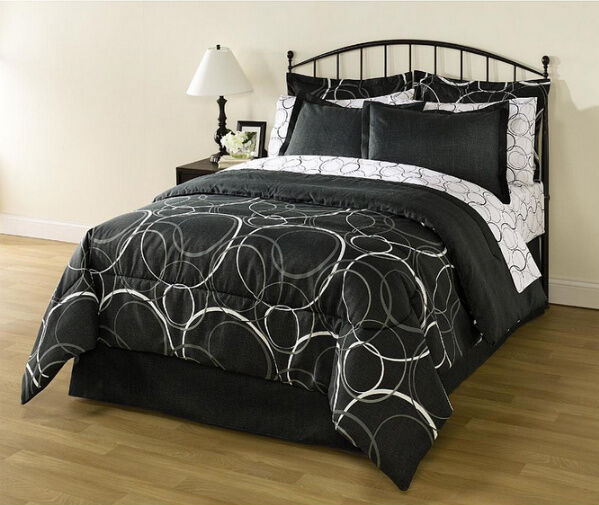White Black Gray Circles Geometric 8 Piece Comforter