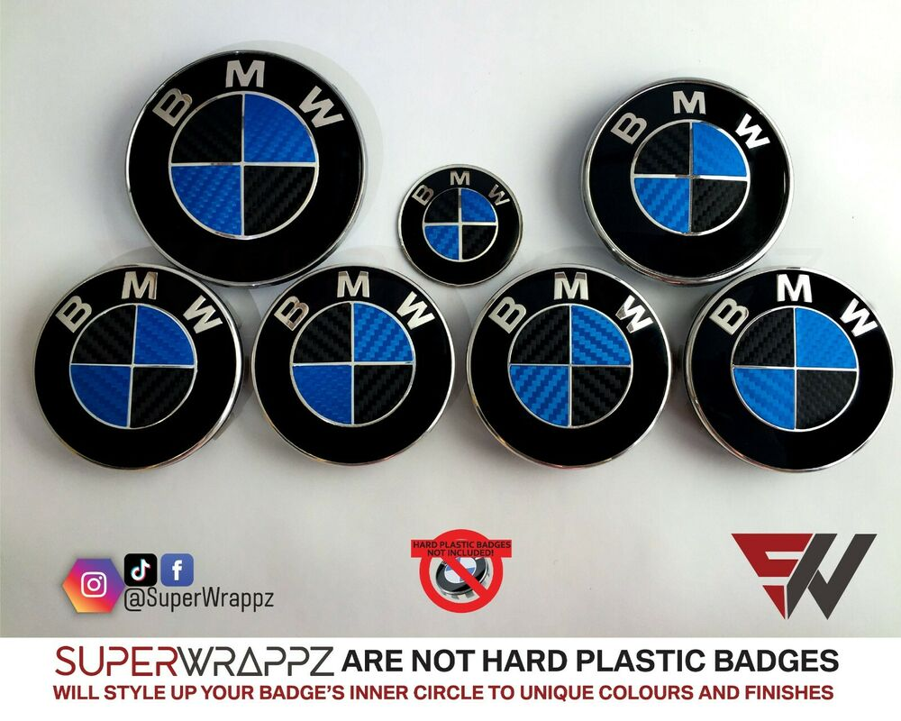 black blue carbon fiber badge overlay wrap for bmw hood. Black Bedroom Furniture Sets. Home Design Ideas