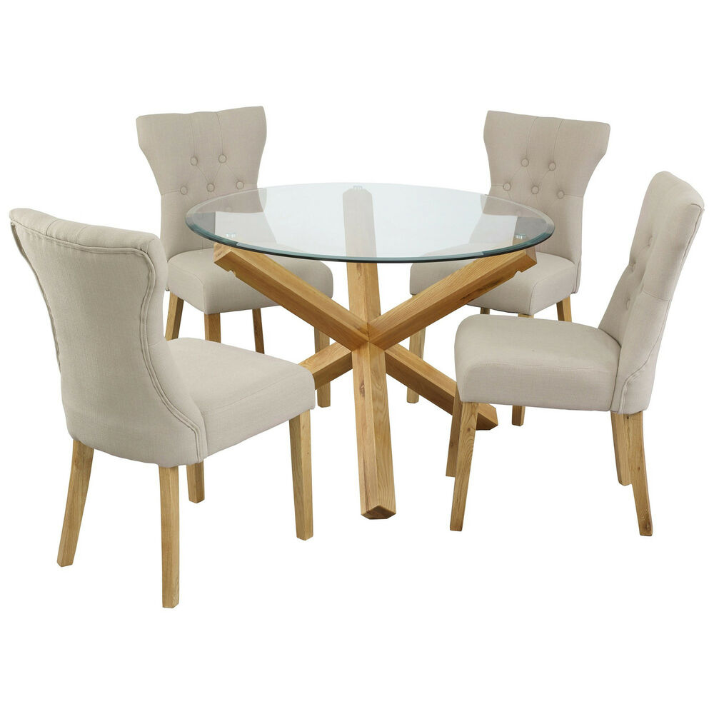 Solid oak and glass dining table round 42 ebay for Glass dining table