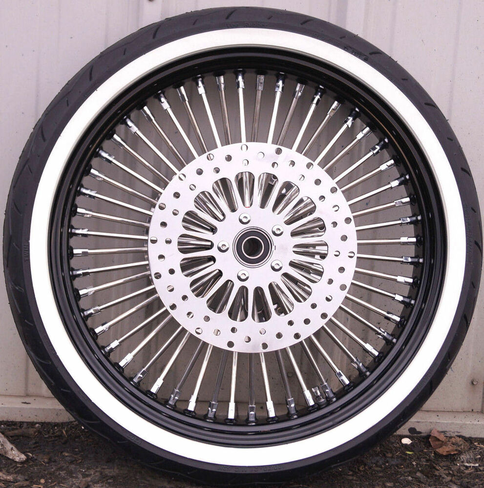 Wheel And Tire Package Deals >> Black 21 3.5 52 Mammoth Fat Spoke Front Wheel Whitewall 120 Tire Package Touring | eBay