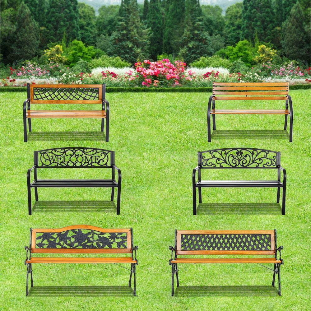 ikayaa outdoor garden park bench patio furniture cast iron. Black Bedroom Furniture Sets. Home Design Ideas