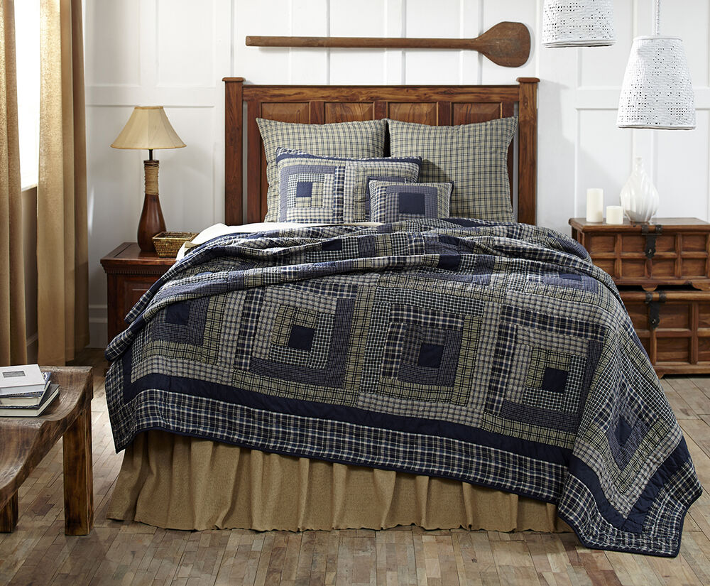 Columbus King Quilt Navy Blue Sage Green Primitive Rustic