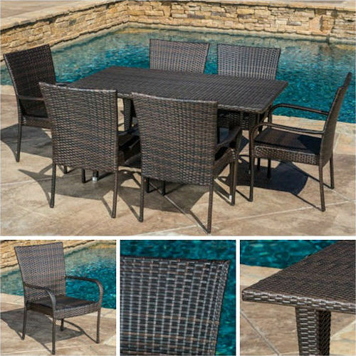 Outdoor Dining Set Brown 7pc Wicker Patio Furniture Table Chair Pool Garden D