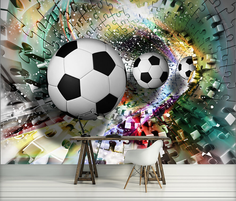 Photo wallpaper football goal boys kids room wall mural for Boys mural wallpaper