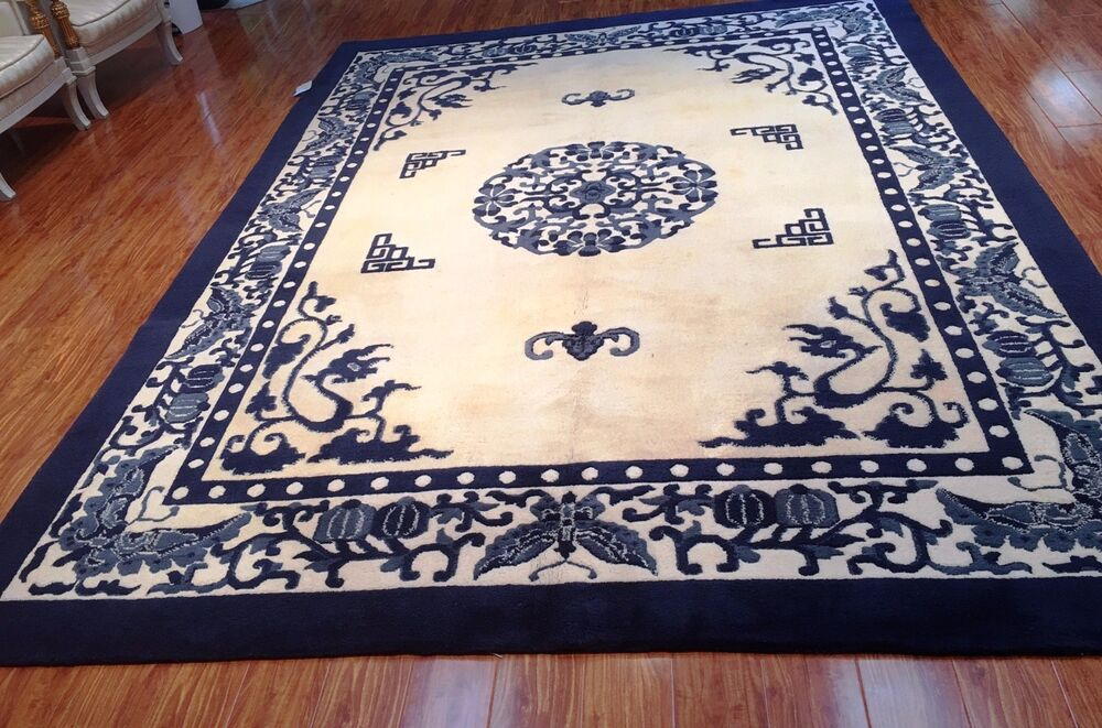 9 X 12 Sculpted Chinese Rug Hand Woven 100 Wool Pile