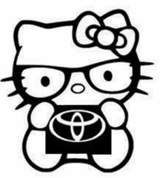 Hello Kitty Toyota Die Cut Vinyl Decal Window Laptop Notepad Phone