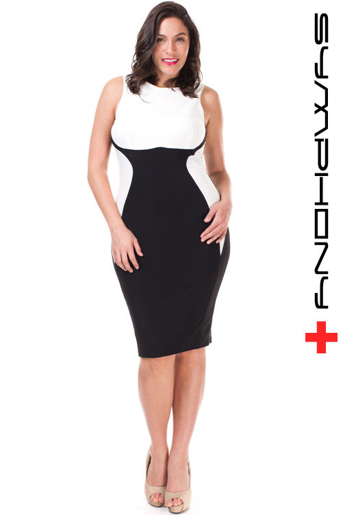 Plus Size Black White Color Block Hourglass Bodycon Pencil