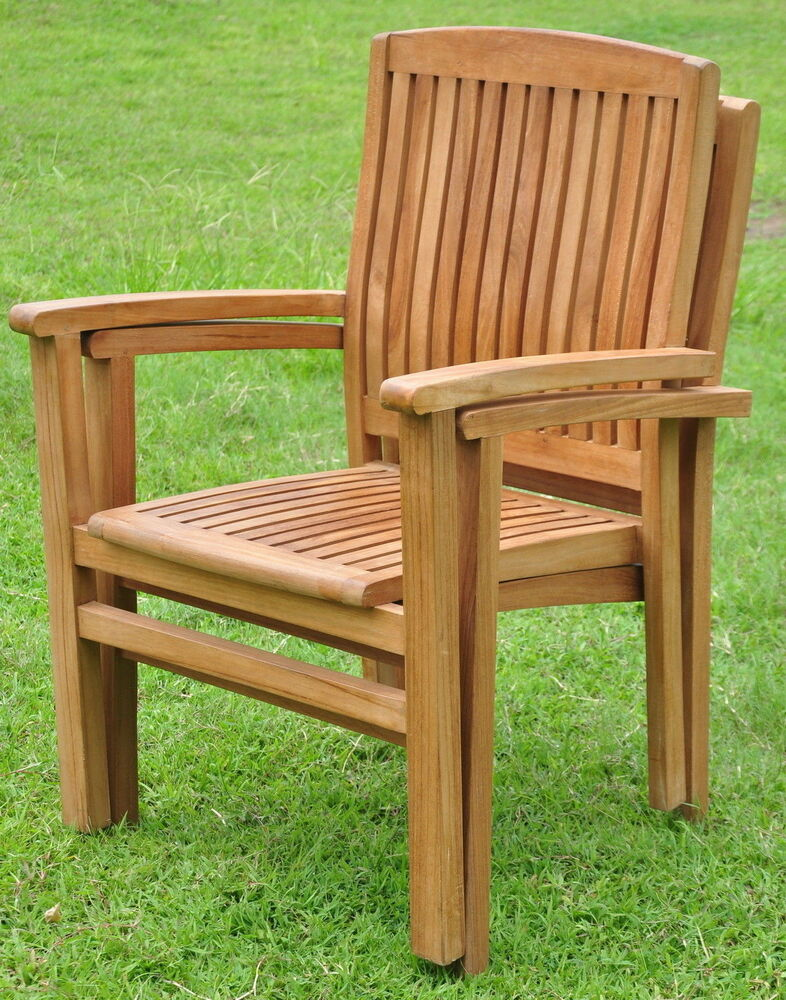 Qty wave grade a teak wood dining stacking arm chair