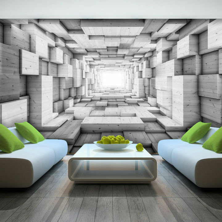 Photo wallpaper wooden 3d effect abstract tunnel wall for 3d effect wallpaper uk