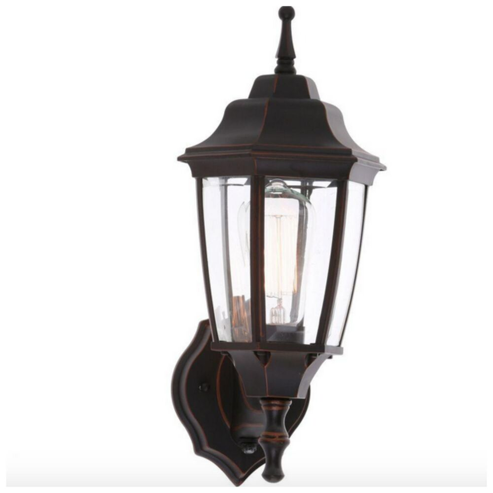 Outdoor exterior porch light lantern bronze wall lighting for Yard lighting fixtures