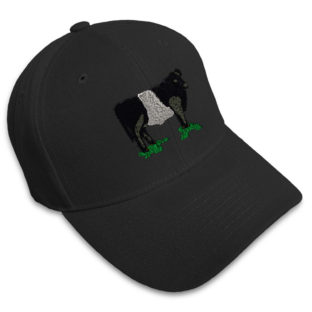 belted galloway cow embroidery embroidered adjustable hat