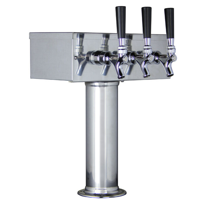 Stainless Steel Towers : Kegco ttow f ss polished stainless steel triple tap