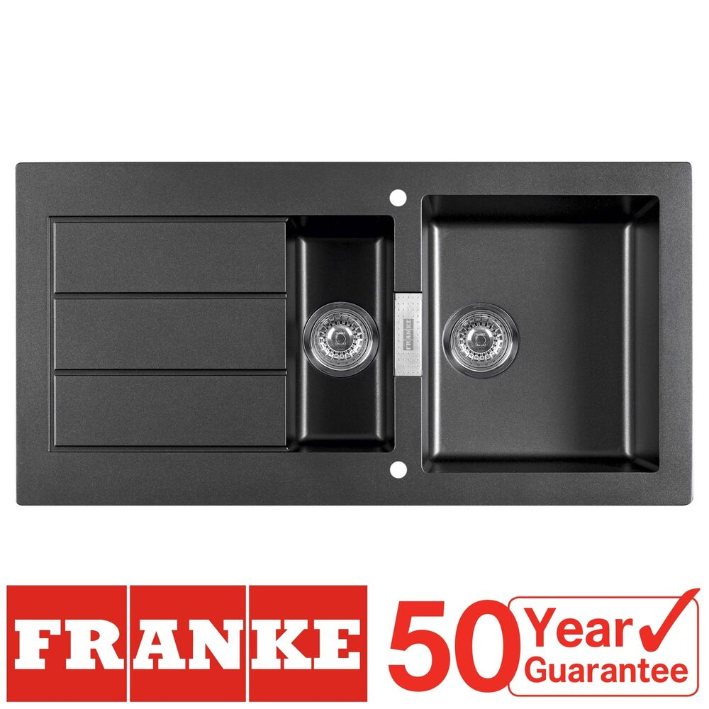 Franke Black Kitchen Sink: Franke SID651 Sirius 1.5 Bowl Black Tectonite Reversible