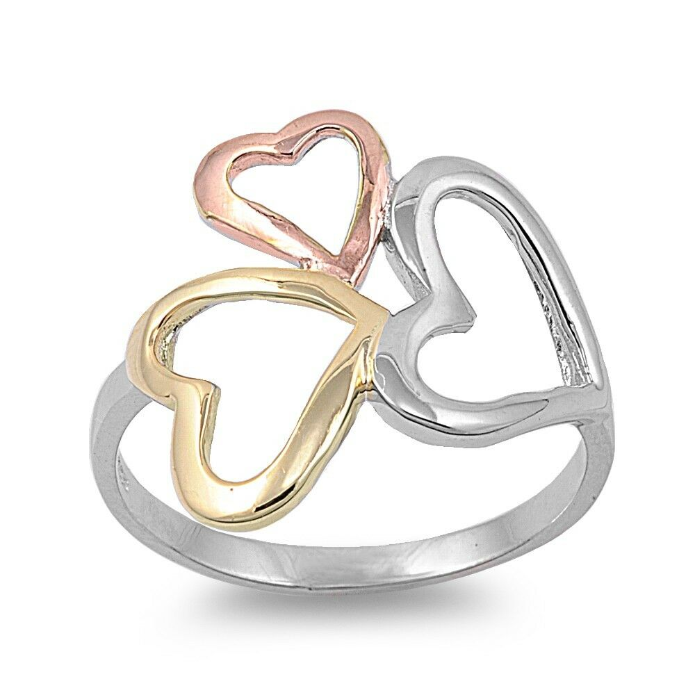 925 Sterling Silver Three Love Hearts Fashion Promise