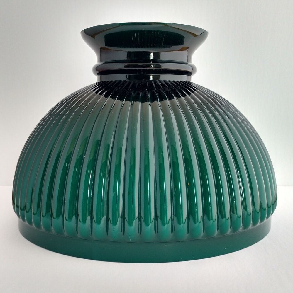 Dark Green Cased Glass Ribbed Shade Aladdin Lamp N301