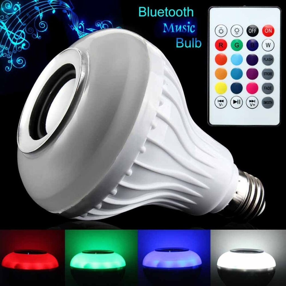 Bluetooth 3 0 Control Music Audio Speaker E27 Led Colorful