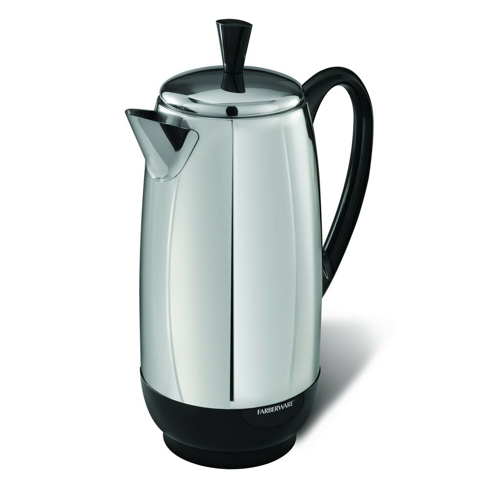 Farberware Electric 12 Cup Percolator Stainless Steel Coffee Maker Pot Cool New eBay