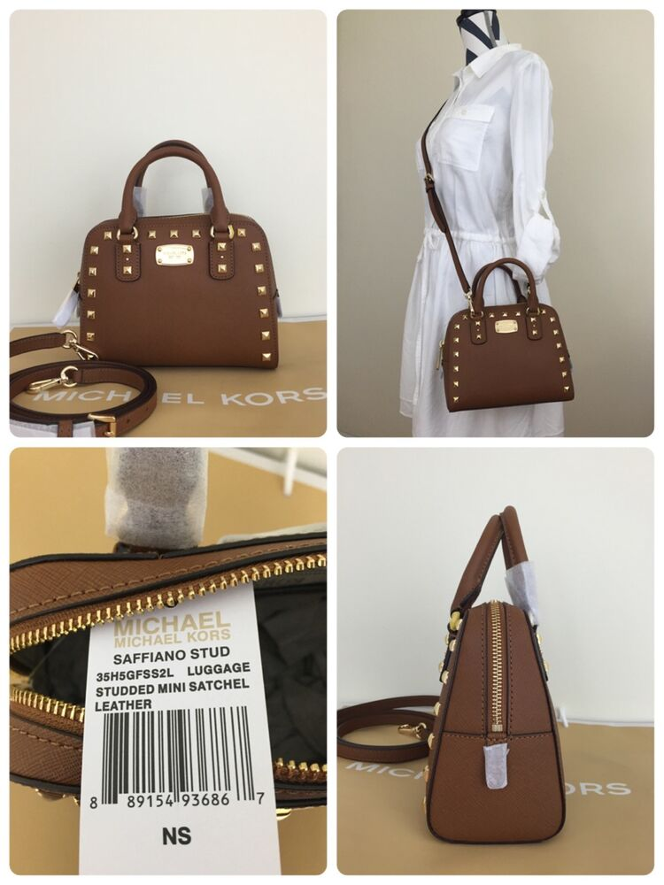 69efba315c3ba Michael Kors Mini Satchel Saffiano Leather With Gold Stud   Brown  889154936867