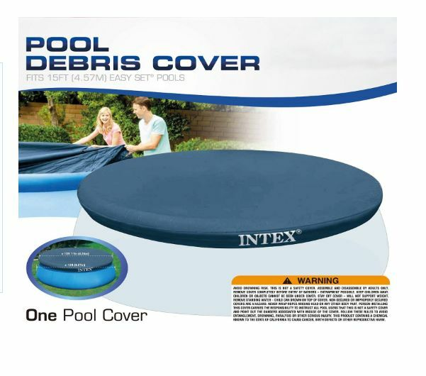 New intex 15 ft round outdoor easy swimming pool cover set for 15 ft garden pool