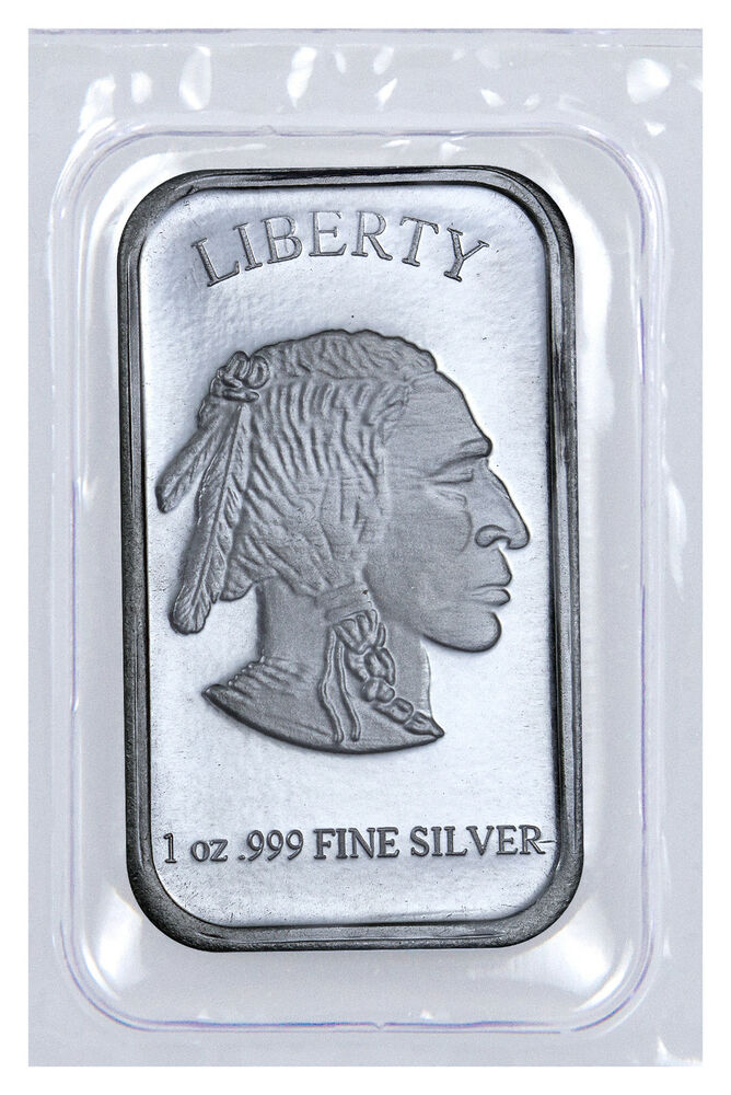 1 Troy Oz 999 Fine Silver Buffalo Liberty Bar Sealed In